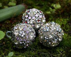 Jeweled Ornaments Petite Trio Set of Three Vintage Crystals Romantic Home Decor via Etsy