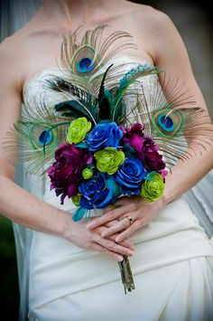 Bouquet--peacock feathers, purple, blue, turquoise and green, plus lights! my-regency-peacock-wedding