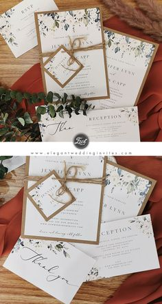 Rustic greenery wedding invitation with earth toned kraft backing card EWIS008 | Perfect for outdoor weddings