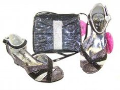 Girls peep toe black and silver party