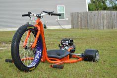 Powered Drift Trike Chassis by Trike Daddy Customs Bike Drift, Drift Trike Frame, Bike Frame, Drift Trike Motorized, Rc Cars Diy, Custom Trikes, Honda Bikes, Trike Motorcycle, Kids Ride On