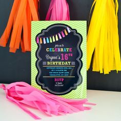 Neon Tassle Chalkboard Bright Tween Teen by arpartyprintables, $18.00