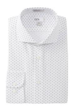 Square Print Trim Fit Dress Shirt
