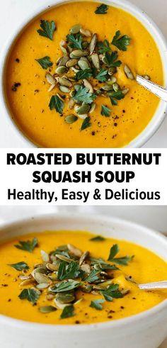 This roasted butternut squash soup is warm, creamy, and the perfect fall recipe!  You can also make this in a crockpot, insta pot, or on the stove. #butternutsquash #souprecipe #fallrecipe #roastedbutternutsquash #fallsoup