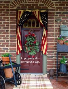 This homeowner is violating flag etiquette, and needs to read the US Flag Code.
