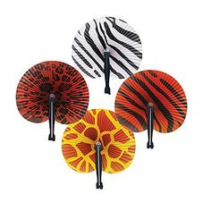 Our Safari Print Folding Fan feature bold designs such as a zebra, cheetah, leopard and tiger. Each package contains  12 fans which measure approximately 7 x 10 inches.