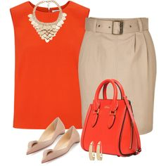 Feeling Tangerine !!! by stylesbypdc on Polyvore featuring polyvore fashion style Elizabeth and James Burberry Christian Louboutin Alexander McQueen Kardashian Kollection Lana
