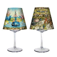 """Double pack of two screens to mount two mini lamps. You only need a candle and a glass of wine. Two acetate screens with the central image, the lust and right lateral, the hell, of the famous triptych the """"Garden of the delights"""" By Bosch. Garden Of Earthly Delights, Wine Glass, Candles, Artwork, Clothing, Prints, Products, Mini Chandelier, Lamp Shades"""