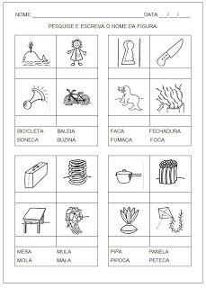 Hipótese de escrita silábica com valor sonoro - Pesquise e escreva o nome da figura Words, Worksheets, Word Families, Learning Disabilities, Fun Math Activities, Initials, Therapy, Horse, Countertops
