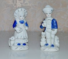 Blue Delft Girl & Boy Figurine with Dog Puppy and by WVpickin