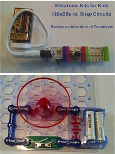 Snap Circuits and littleBits are two different electronic module kits for young kids to use to learn about electricity. This post reviews and compares them. Find more STEM for kids activities at Inventors of Tomorrow