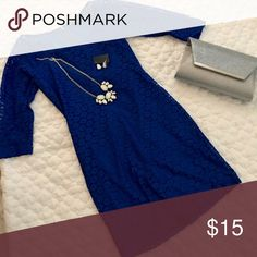 Royal blue lace dress Beautiful Royal blue lace dress with zipper on back.. clutch and earring/necklace set sold separate Be pop  Dresses Midi
