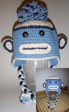 Socky the Monkey Animal Hats, Crochet For Kids, Custom Design, Infant, Crochet Hats, Beanie, Handmade, Animals, Knitting Hats