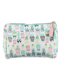 Succulents Print Cosmetic Makeup Bag or Potted Cactus Pouch Wallet #affiliate
