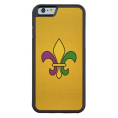 Mardi grass fleur-de-lys carved® maple iPhone 6 bumper