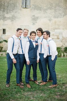 love this color and suspender look. works well with blush flowers too. and prob go well with grey or dark grey suit planning destination wedding Groomsmen Attire Navy, Groomsmen Suspenders, Bridesmaids And Groomsmen, Wedding Men, Wedding Suits, Wedding Attire, Destination Wedding Groomsmen, Wedding Ideas, Wedding Details