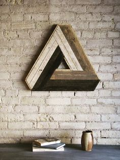 Reclaimed Wood Wall Art, Decor, Lath, Penrose Triangle, Geometric Pattern…