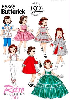 Butterick 5865 Retro Sewing Pattern Makes American Girl Doll Clothes Girl Doll Clothes, Doll Clothes Patterns, Doll Patterns, Clothing Patterns, Girl Dolls, Fashion Patterns, Ag Dolls, Sewing Clothes, Girl Clothing