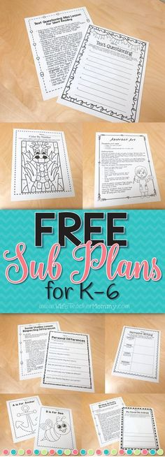 These+FREE+sub+plans+are+an+easy+way+to+get+started+with+planning+for+a+substitute+teacher!+They+are+perfect+for+Kindergarten,+1st+grade,+2nd+Grade,+3rd+Grade,+4th+Grade,+5th+Grade,+and+6th+Grade+teachers!+Great+for+planning+for+emergency+sub+plans.