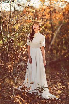 Fantasy autumn bride | photography by www.sanshinephotography.com  Bridal gown by www.charlottegarratt.co.uk
