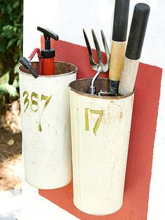 Flea market finds, including sap buckets, turn into fun, cheap tool organizers. Sap buckets are an especially smart storage solution for long-handled hand tools, such as a pruner, cultivator, and compact bicycle tire pump.