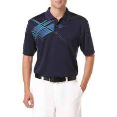 Ben Hogan Performance Argyle Chest Print Short Sleeve Polo Shirt