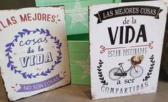 """Alegra tu vida con las mejores frases.  Placa """"Las mejores cosas de la vida..."""" http://ift.tt/2mHw0xa #placa #frases #pared #decoracion #decohogar #regalo #lamparasyregalos #lamparas #enviosonline #paratodaespaña #españa"""