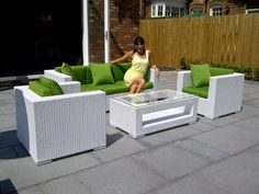 Contemporary Rattan Sofa Set in White Rattan Rattan Outdoor Furniture, Rattan Sofa, Outdoor Decor, Sofa Set, Patio, Contemporary, Ebay, Home Decor, Decoration Home