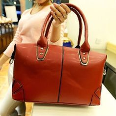 Korean Style Women s Tote Bag With Solid Color and Rivets Design (Korean Style Women s Tote B) by www.irockbags.com