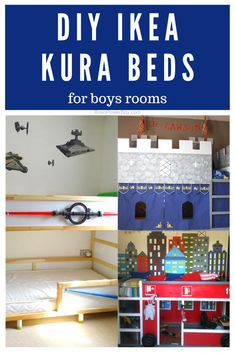 Want an awesome bed for your boy's bedroom? You have to see these DIY IKEA KURA Bed Hack Ideas especially for boys. The only hard part of this project will be deciding between all the awesome choices! Click or tap to see them all. Ikea Hacks, Ikea Kura Hack, Diy Hacks, Big Girl Rooms, Boy Room, Kura Bed, Castle Bed, Farmhouse Side Table, Bed Wall