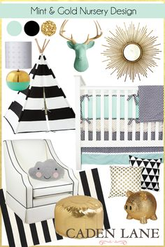 How amazing is this room design. Black, gold, and mint paired with Caden Lane's Eclectic Mint baby bedding is perfect for your babies nursery.