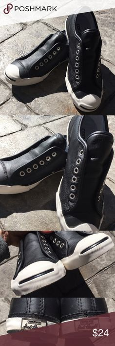Jack Purcell for Converse Leather No Lace Sneakers Very comfy...worn twice...minor wear on the soles Converse Shoes Sneakers