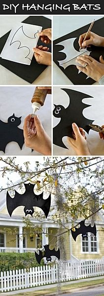 diy halloween deco - just hang up the bats falschrum. - diy halloween deco – just hang up the bats falschrum. Bat Decoration upside down – for the more - Casa Halloween, Theme Halloween, Halloween Projects, Holidays Halloween, Happy Halloween, Diy Projects, Halloween 2014, Halloween Garden Ideas, Halloween Makeup