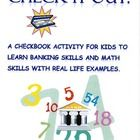 Updated!  A Checkbook activity for kids to learn banking skills and math skills with real life examples.  36 Activity cards with situations where they will n...