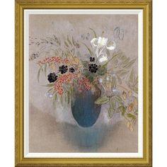 "Global Gallery 'Flowers In a Vase. Fleurs Dans Un Vase' by Odilon Redon Framed Painting Print Size: 28"" H x 23.41"" W x 1.5"" D"