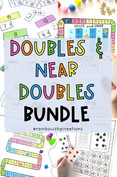 Get your students confidently doubling, halving, and using the near doubles strategy with these fun games! This bundle is designed to provide your students with hands-on, differentiated learning experiences with little preparation from you. All tasks have been carefully created to build proficiency, fluency, and confidence when using number knowledge to double and halve. Grade 1