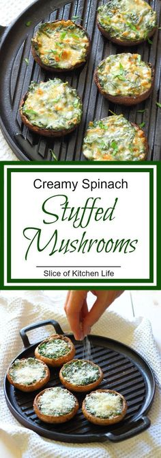 Creamy Spinach Stuffed Mushroom Recipe - Portobello mushrooms stuffed with creamy garlic spinach, then topped with grated parmesan   | #Appetizers #CleanEating Sherman Financial Group