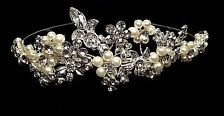 Silver Bridal Wedding Prom Pearl Crystal Princess Crown Tiara Headpiece H812