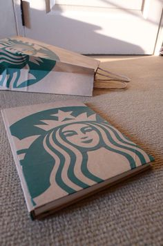 handmade notebook, diary, journal, eco friendly sketch book, scrapbook, recycled paper, reconstruction - starbuck lover
