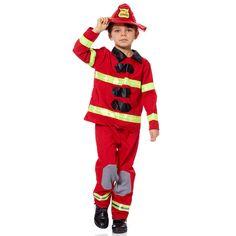 Déguisement de pompier                             rouge Enfant