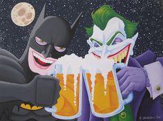 Batman and the Joker having a beer.