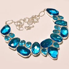 MARVELOUS FACETED LONDON BLUE TOPAZ PRETTY .925 SILVER NECKLACE #Handmade #Choker