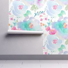 Awesome Watercolor Floral Wallpaper   Floral Blues B By Indy Bloom Design   Custom  Printed Removable Self Adhesive Wallpaper Roll By Spoonflower By  Spoonflower On ...