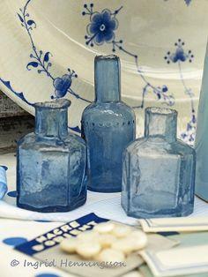 Three Blue Vintage Ink Bottles