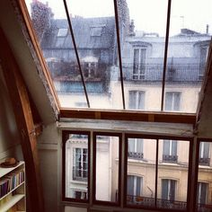 I would love to sit and watch the rain fall on the window, while drinking tea. Dream view.