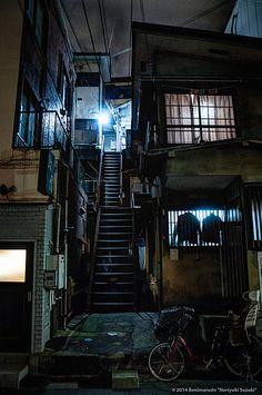曙橋 Akebono-Bashi by Noriyuki Suzuki on Kasimir Und Karoline, Cyberpunk City, City Aesthetic, Japanese Streets, Urban City, Slums, Night City, Nocturne, Urban Landscape