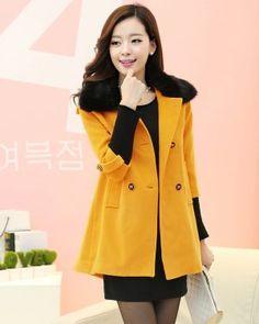 TC000919 Long autumn fur collar red woolen coat