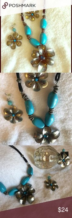 New Listing 🆕 Turquoise Daisies Set Beautiful Turquoise Daisies Necklace and Earrings Set 🆕 Pre-Loved ✨ Please ask me questions if in doubt ✨ Reasonable Offers Always Welcomed ✨ Love to Bundle Jewelry Necklaces