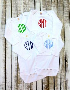 Monogrammed baby onesie set two personalized baby onesies twin monogrammed cotton long sleeve onesie baby layettesan antonioonesiebaby negle Image collections