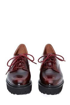 Jeffrey Campbell Pistol Leather Oxford - Wine | Shop Shoes at Nasty Gal